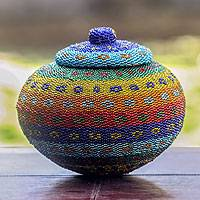 Beaded ate grass basket, 'Kuta Dusk' - Rainbow-hued Hand Made Beaded Grass Basket
