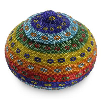 Beaded ate grass basket, 'Kuta Dusk' - Rainbow-hued Hand Made Beaded Grass Basket