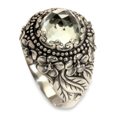 Prasiolite and Sterling Silver Floral Cocktail Ring