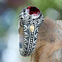 Garnet and gold accent cocktail ring, 'Crimson Treasure' - Garnet and Gold Accented Silver Cocktail Ring