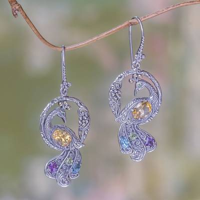 Multi-gemstone gold accented earrings, 'Graceful Peacock' - Multi-gemstone Gold Accented Silver Peacock Earrings