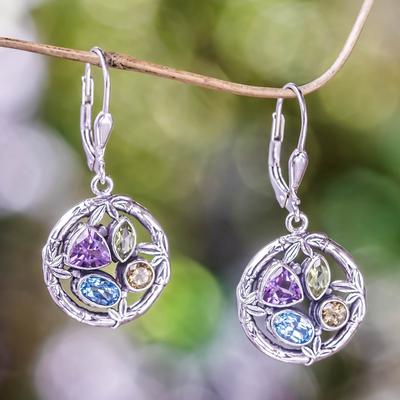 Multi-gemstone dangle earrings, 'Splendid Bamboo' - Multi-gemstone Sterling Silver Dangle Earrings from Bali