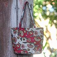 Cotton batik shoulder bag, 'Red Kembang Kapas' - Handcrafted Beaded Batik Cotton Shoulder Bag from Indonesia