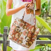 Cotton batik shoulder bag, 'Brown Kembang Kapas' - Fair Trade Beaded Brown Floral Cotton Batik Tote Bag
