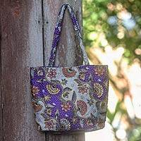 Cotton batik shoulder bag, 'Purple Kembang Kapas' - Artisan Crafted Purple Batik Shoulder Bag with Beading