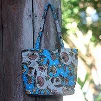 Cotton batik shoulder bag, 'Blue Kembang Kapas'