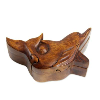Wood puzzle box, 'Lovina Dolphin' - Handcrafted Wood Dolphin Puzzle Box from Bali