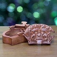 Wood puzzle box, 'Bhoma the Protector' - Hand Carved Wood Puzzle Box from Bali