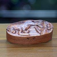 Wood puzzle box, 'Prancing Horse'