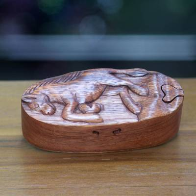 Wood puzzle box, 'Prancing Horse' - Balinese Hand Carved Wood Horse Puzzle Box