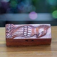 Wood puzzle box, 'Bali Mynah' - Artisan Crafted Bird Theme Wood Puzzle Box from Bali