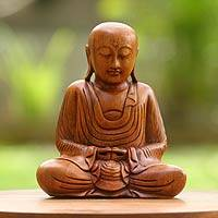 Wood sculpture, 'Samadhi Buddha' - Handcrafted Wooden Buddha Sculpture from Indonesia