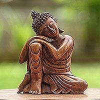 Wood statuette, 'Relaxing Buddha'
