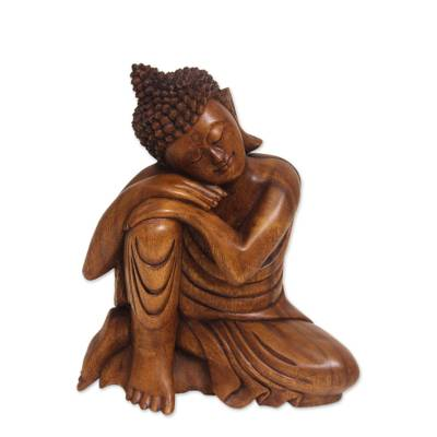 Wood statuette, 'Relaxing Buddha' - Balinese Hand-Carved Wood Buddha Statuette