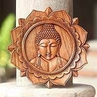 Wood relief panel, 'Lotus Buddha' - Indonesian Carved Wooden Buddha Relief Panel