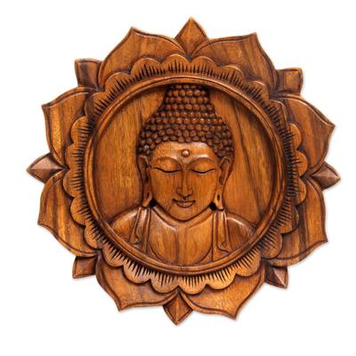 Wood relief panel, 'Lotus Buddha' - Balinese Hand Crafted Wood Buddha Relief Panel