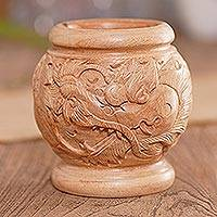 Decorative wood vase, 'Anantaboga' - Hand-carved decorative wood vase