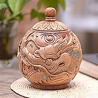 Decorative wood jar, 'Anantaboga' - Decorative mahogany wood jar
