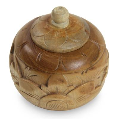Decorative wood jar, 'Bali Bougainvillea II' - Decorative mahogany wood jar