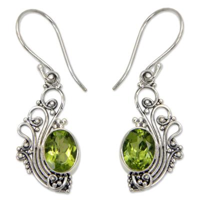 Peridot dangle earrings, 'Green Peacock's Feather' - Lacy Peridot and Sterling Silver Dangle Earrings