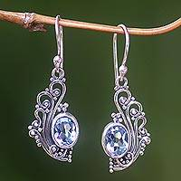 Blue topaz dangle earrings, 'Blue Peacock's Feather' - Lacy Blue Topaz and Silver Dangle Earrings from Bali