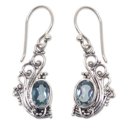 Novica Blue Topaz and Silver Dangle Earrings from Bali