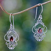 Garnet dangle earrings, 'Crimson Arabesque' - Ornate Garnet and Sterling Silver Dangle Earrings