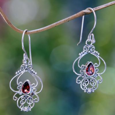 Garnet dangle earrings, 'Crimson Arabesque' - Ornate Garnet and Sterling Silver Dangle Earrings
