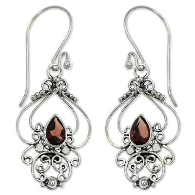 Ornate Garnet and Sterling Silver Dangle Earrings