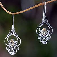 Citrine dangle earrings, 'Golden Arabesque' - Ornate Citrine and Sterling Silver Dangle Earrings