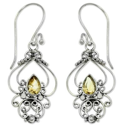 Citrine dangle earrings, 'Golden Arabesque' - Ornate Citrine and Sterling Silver Dangle Earrings