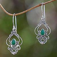 Turquoise dangle earrings, 'Turquoise Arabesque'
