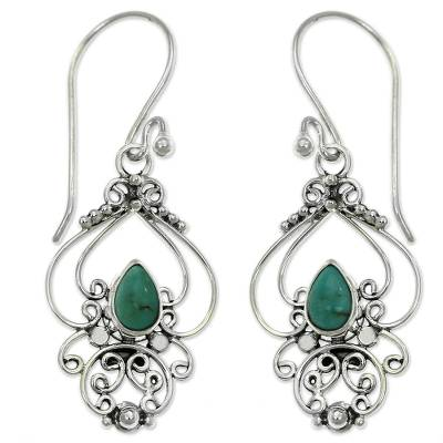 Ornate Natural Turquoise Dangle Earrings from Bali