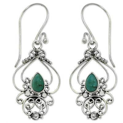 Turquoise dangle earrings, 'Turquoise Arabesque' - Ornate Natural Turquoise Dangle Earrings from Bali