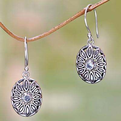 Blue topaz dangle earrings, 'Bali Bloom' - Sterling Silver Blue Topaz Flower Dangle Earrings from Bali