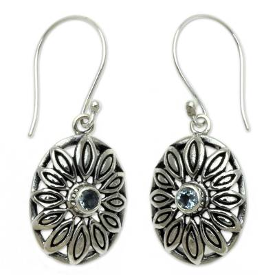 Sterling Silver Blue Topaz Flower Dangle Earrings from Bali