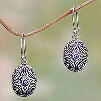 Amethyst dangle earrings, 'Bali Bloom' - Sterling Silver Floral Dangle Earrings with Amethyst