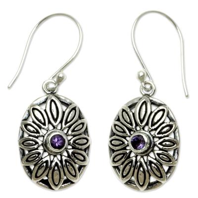 Amethyst dangle earrings, 'Bali Bloom' - Sterling Silver Floral Dangle Earrings with Amethyst