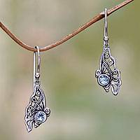 Blue topaz dangle earrings, 'Kupu-Kupu' - Blue Topaz Butterfly Dangle Earrings from Bali