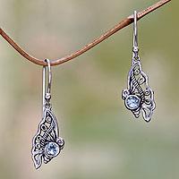 Blue topaz dangle earrings, 'Kupu-Kupu' - Blue Topaz Butterfly Dangle Earrings from Bali