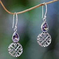 Amethyst dangle earrings, 'Purple Bali Cakra' - Sterling Silver and Amethyst Dangle Earrings from Bali
