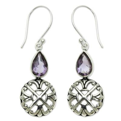 Sterling Silver and Amethyst Dangle Earrings from Bali