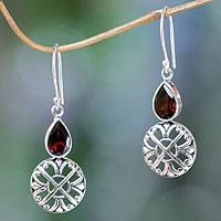 Garnet dangle earrings, 'Red Bali Cakra' - Hand-Crafted Sterling Silver and Garnet Dangle Earrings