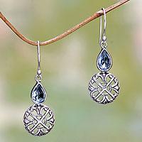 Blue topaz dangle earrings, 'Blue Bali Cakra' - Handmade Sterling Silver and Blue Topaz Dangle Earrings