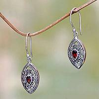Garnet dangle earrings, 'Karma Shield'