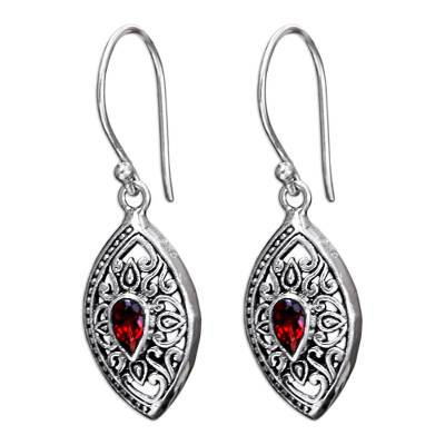 Garnet and Sterling Silver Bali Dangle Earring