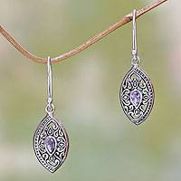 Amethyst dangle earrings, 'Karma Shield' - Ornate Sterling Silver and Amethyst Earrings from Bali