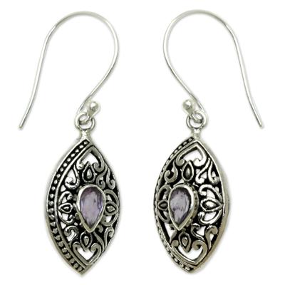 Amethyst dangle earrings, 'Karma Shield' - Ornate Sterling Silver and Amethyst Earrings from Bali