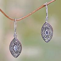 Blue topaz dangle earrings, 'Karma Shield'