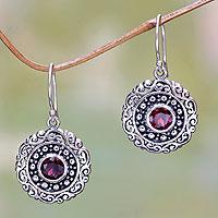 Garnet dangle earrings, 'Solar Flares' - Round Sterling Silver and Garnet Dangle Earrings